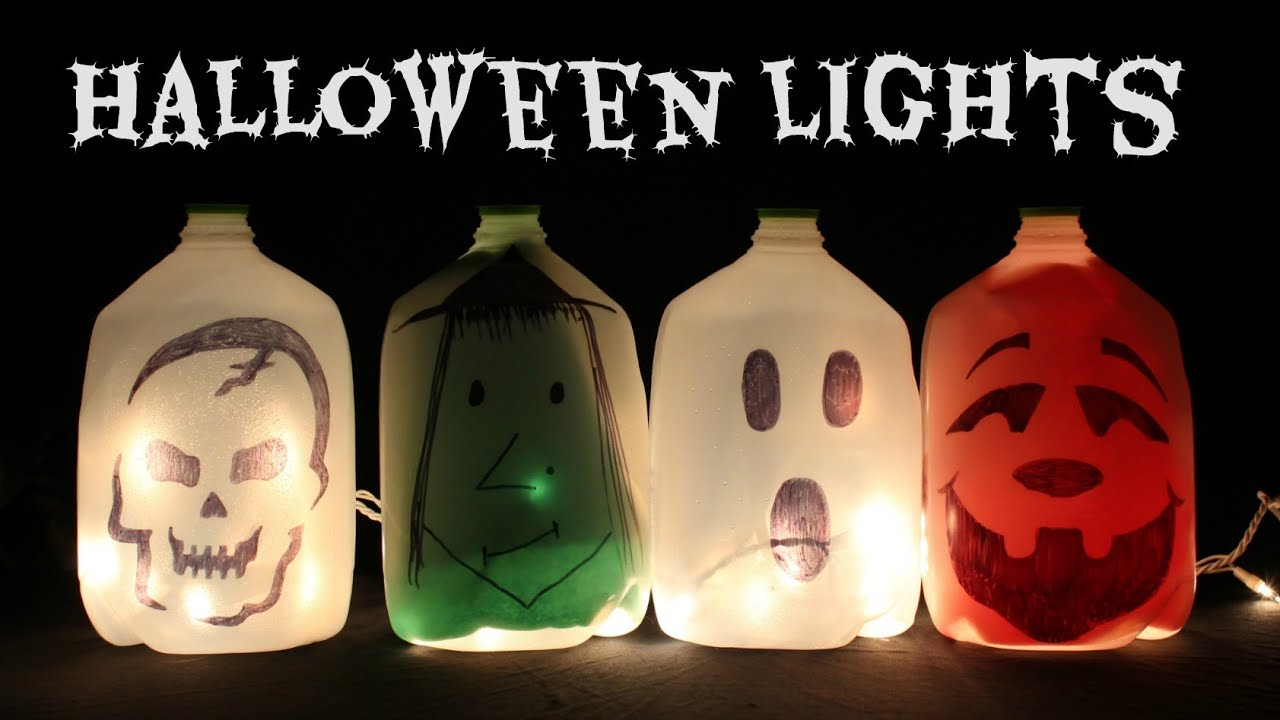 HOW TO MAKE LIGHT UP HALLOWEEN JUG DECORATIONS  YouTube - Light Up Halloween Decorations