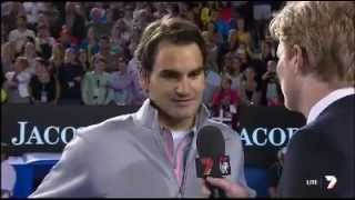 Jim Courier interviews Federer after 4R victory AO 2013