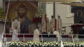 Pope Francis misses step, trips before Mass in Poland