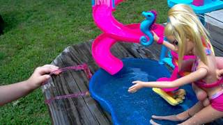 August 2011 The new BARBIE POOL and slide.mov