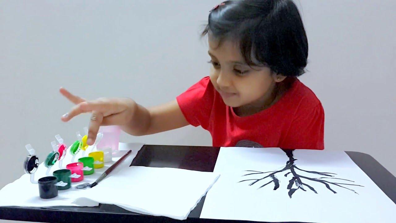 Kids finger painting art