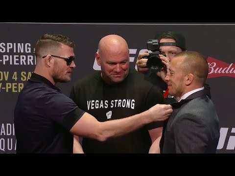 UFC 217: Bisping vs St-Pierre Press Conference Face Offs