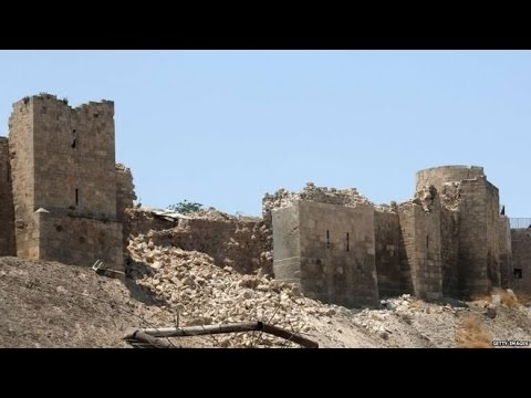 Syria civil war Bomb damages Aleppo's ancient citadel