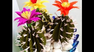 How to make Paper Cactus with Flower (Flower # 74)