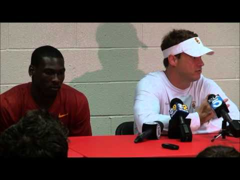 Lane Kiffin & Marqise Lee post 2013 USC Spring Game Presser