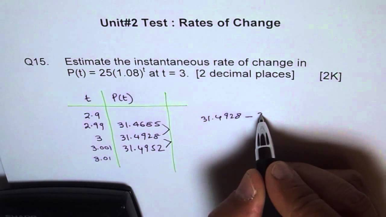 Test Instantaneous Rate of Change Exponential Function Q15 ...