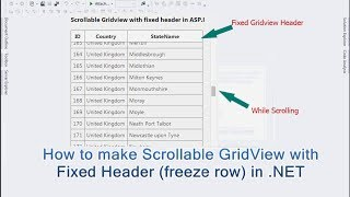 How to make Scrollable GridView with a Fixed Header (freeze row) in .NET