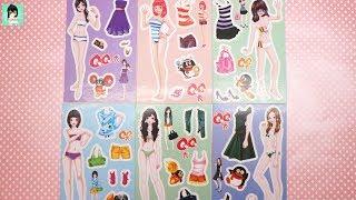 Đồ chơi 6 bộ hình dán trang phục xinh đẹp cho búp bê / búp bê giấy / Ami channel
