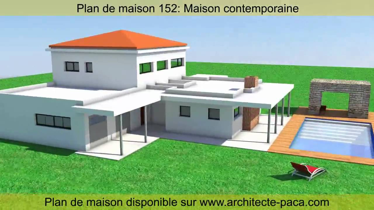Plan de maison contemporaine 152 d 39 architecte architecte paca com youtube for Maison moderne contemporaine