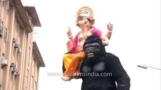 Gorilla carries Lord Ganesh -  Ganesh Visarjan madness in Mumbai
