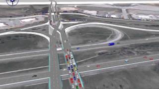 Diverging Diamond Interchange Simulation - I-40 Exit 407 (Sevierville)