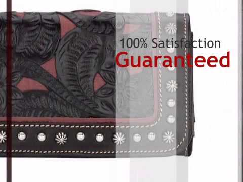 Everyday Cowgirl Ladies Tri Fold Wallet   Chocolate Brown And Raspberry   Lonestarwesterndecor.com