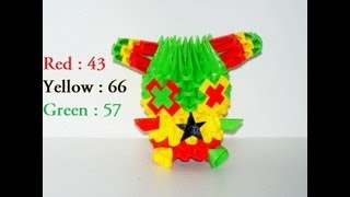 Origami 3d : Striped Rasta Bunny (samy Moussaoui)