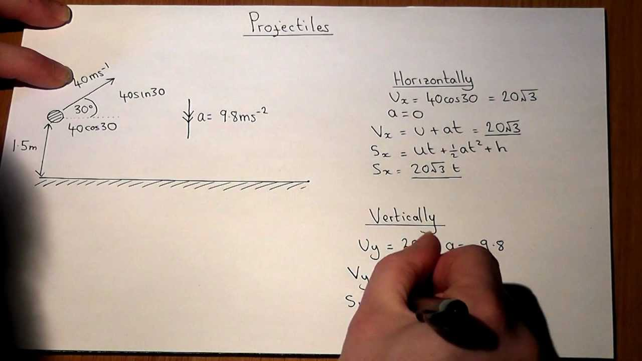 how to work out angle projectile motion