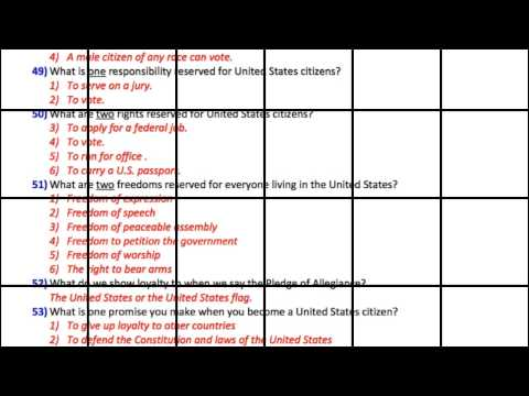 100 Citizenship Test Questions  Naturalization In English