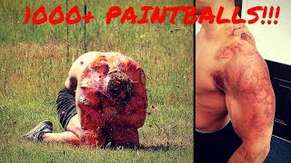SHOT WITH 1000+ PAINTBALLS IN SLOW MOTION | Bodybuilder VS Paintball Guns | Crazy Challenge Fail