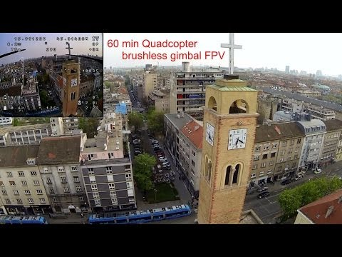 60 min quadcopter fpv with brushless gimbal