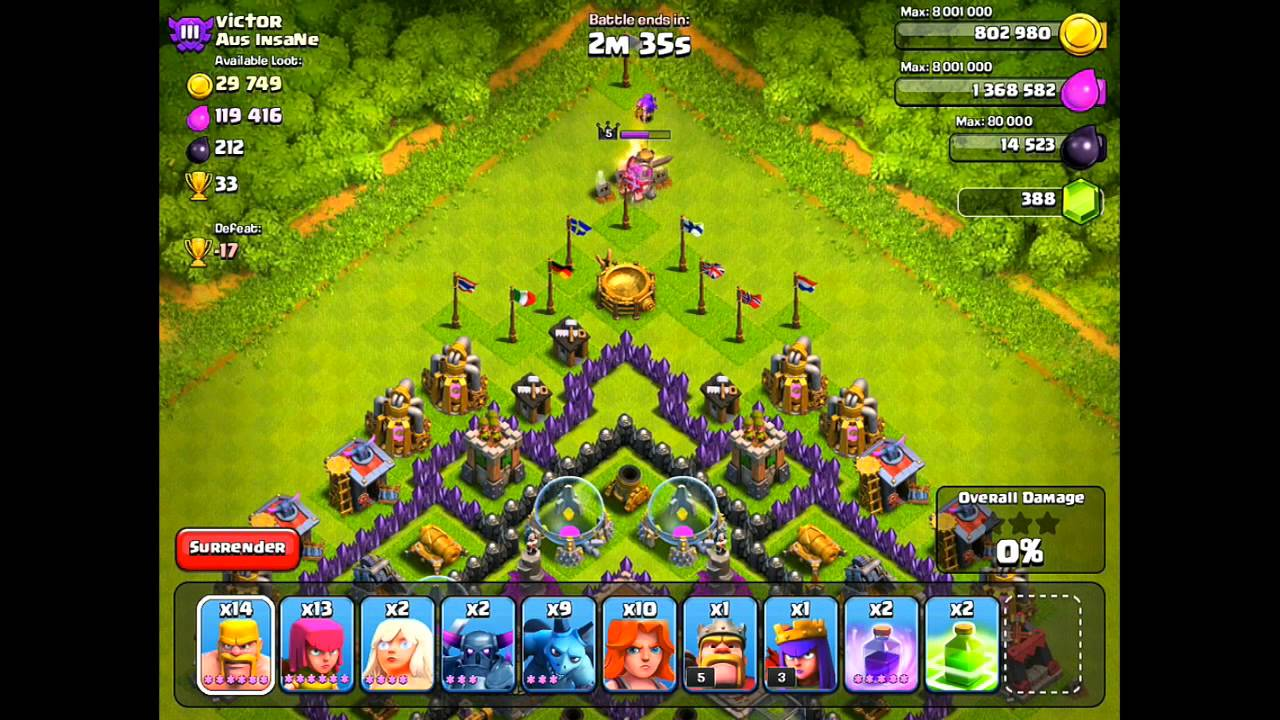 Clash of clans worst attack strategy b a r f b a g youtube