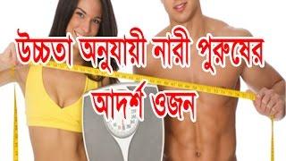 উচ্চতা অনুযায়ী নারী পুরুষের আদর্শ ওজন-BD Health Tips and Guide