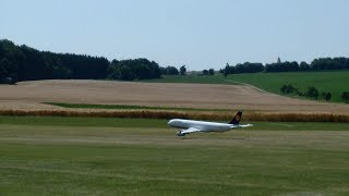RC AIRLINER A-340 MODEL AIRPLANE EXTREME LOWPASS CLOSE ON A CRASH
