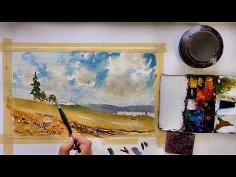 Watercolor Painting Video; Vineyards by Vinita Pappas