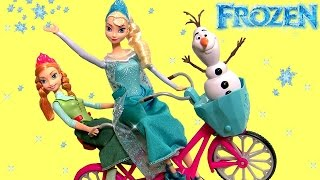Disney Frozen Olaf Anna & Elsa Musical Bicycle Girls Toy Play Doh Surprise Eggs Clay-Buddies Barbie
