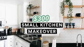 $300 DIY SMALL KITCHEN MAKEOVER & REVEAL - Renter + Budget Friendly!!