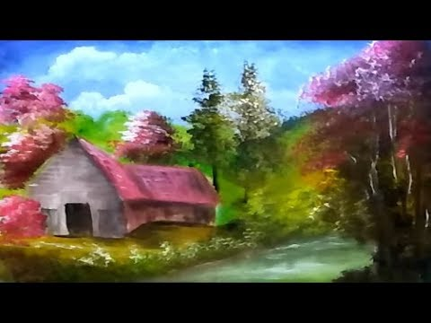 How to Draw Village In The Forest | Acrylic Painting Landscape | Step By Step