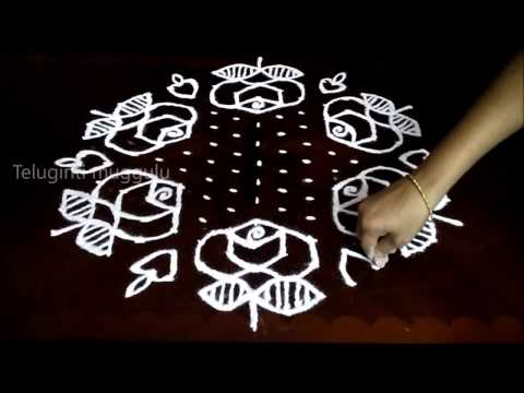Simple rose flowers kolam designs with 15 - 8 middle | chukkala muggulu with dots| rangoli design