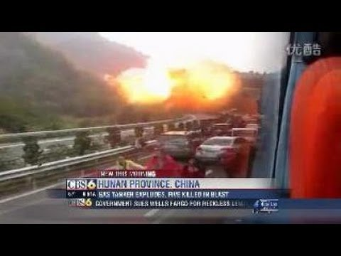 Tanker explosion in China from multiple angles full video