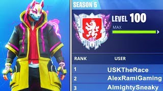 "WORLDS FIRST LEVEL ""100"" IN FORTNITE BATTLE ROYALE SEASON 5! WORLDS FIRST LIVE (FORTNITE)"