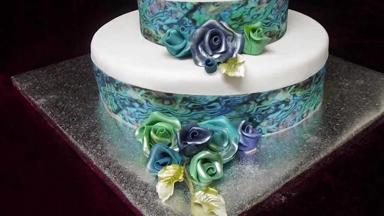 Paua Shell Inspired Wedding Cake Kiwiana Wedding Cake