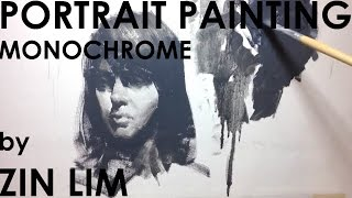 Monochromatic Portrait Painting In Oil Wash Technique