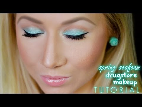 Easy Spring Seafoam Green Drugstore Makeup Tutorial Youtube