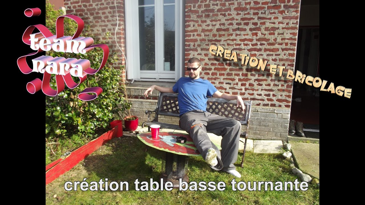 cr ation et bricolage table basse tournante en planche de skim youtube. Black Bedroom Furniture Sets. Home Design Ideas