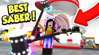 Getting SHINY CHRISTMAS PETS and the BEST SABER in Roblox Saber Simulator!