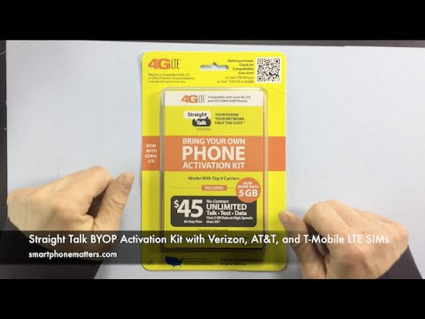 Straight Talk BYOP Activation Kit with Verizon. AT&T. and T-Mobile LTE SIMs