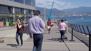 Walking in Downtown Vancouver Canada. Coal Harbour Area. Seaside City.