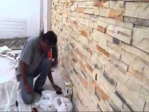 Muro recubierto con fachaleta de cantera 01 youtube Como colocar ceramica en pared