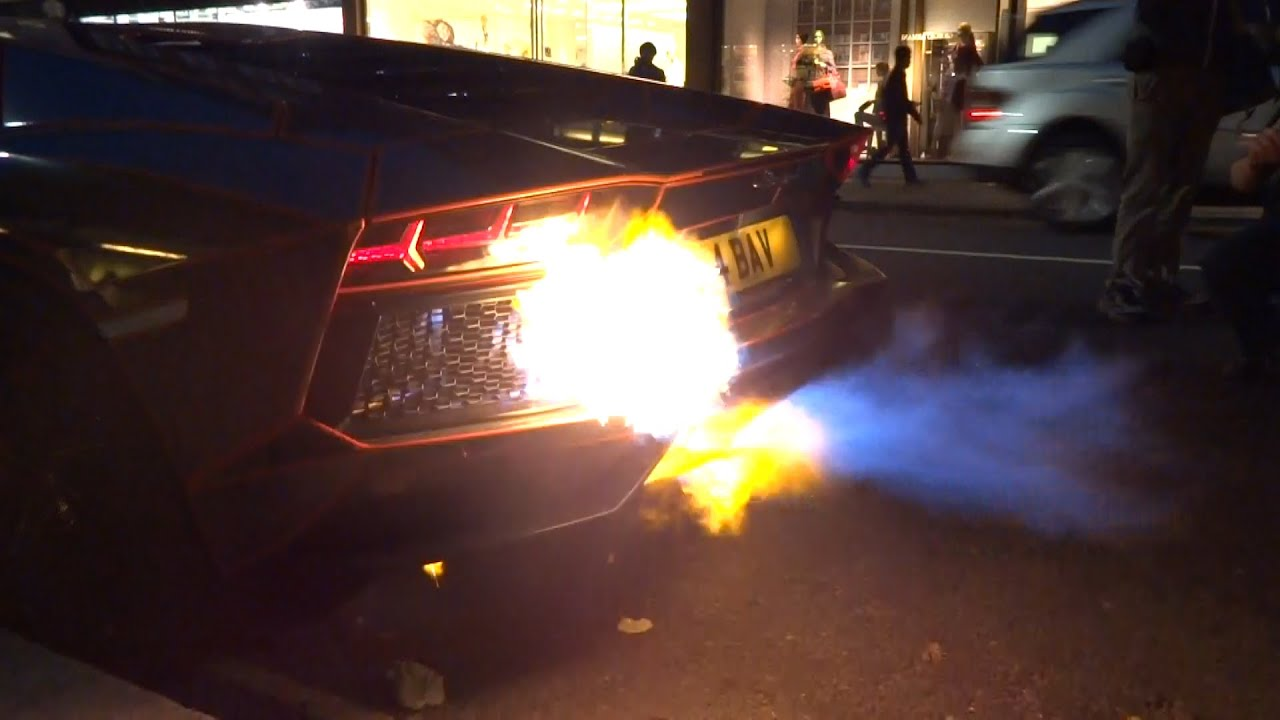 Lamborghini Aventador Catches Fire In London Youtube