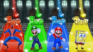 Mario Party 9 MiniGames - Mario Vs Luigi Vs Spider Man Vs SpongeBob (Master Cpu)