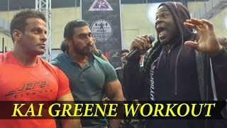 Kai Greene Workout with Indian Athletes at Jeria Cage - IHFF Sheru Cassic