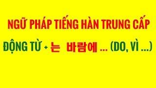 Ngữ Pháp Tiếng Hàn Trung Cấp - Cấu Trúc ĐỘNG TỪ + 는 바람에 ... (DO, VÌ ...)