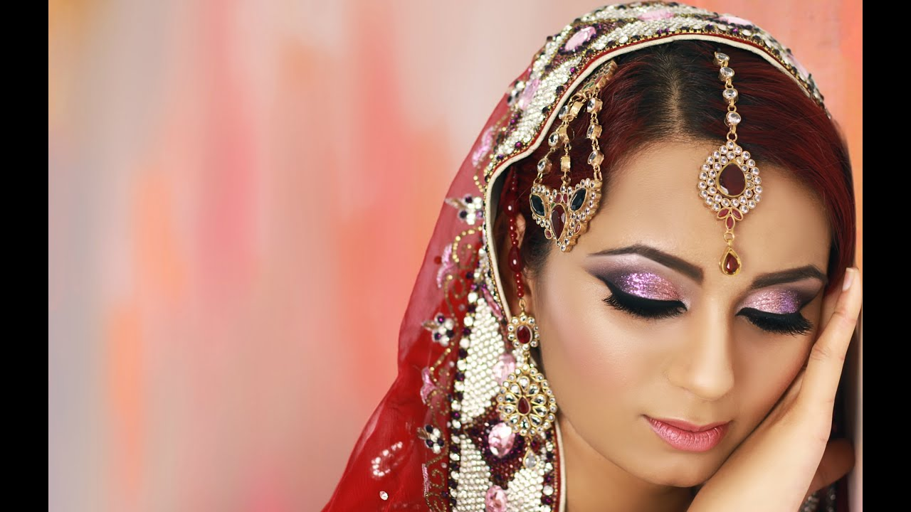 Pink and Purple Glitter Smokey Eye Bridal Makeup Tutorial ...