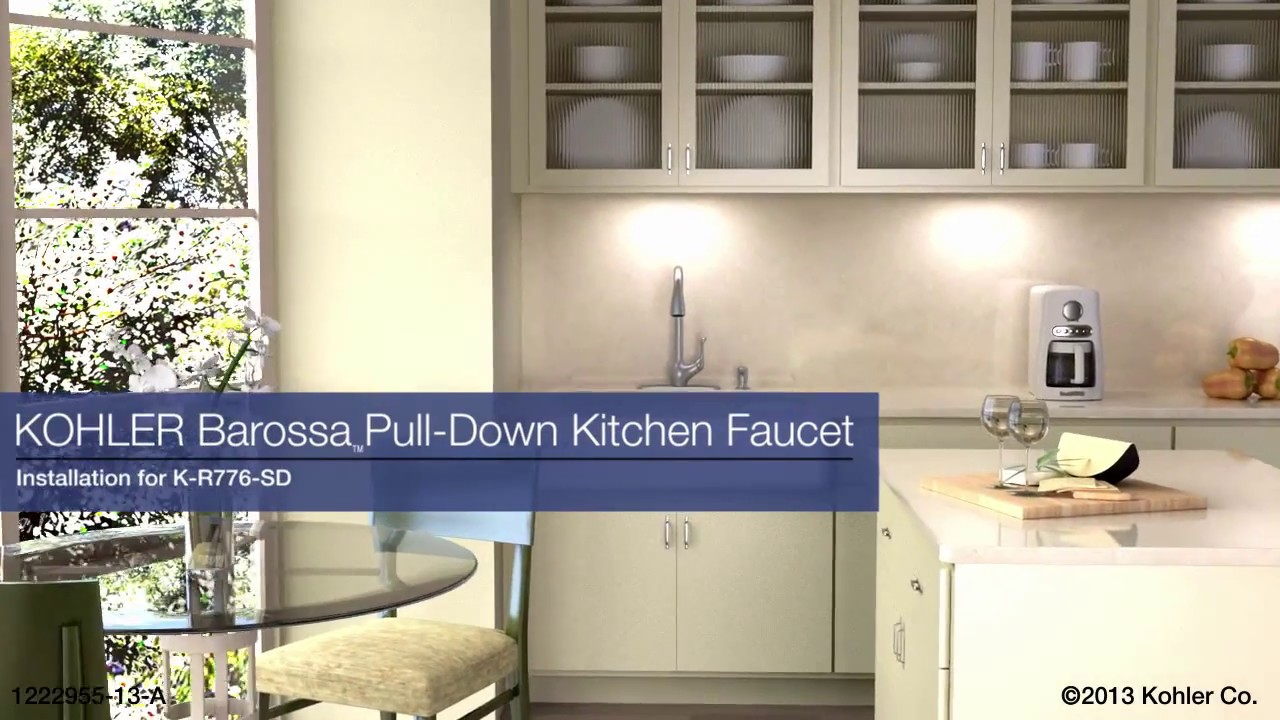 Kohler Barossa Faucet : Installation - Barossa Pull-Down Kitchen Faucet - YouTube