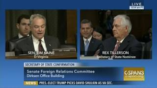Sen. Kaine and Tillerson Have Testy Exchange on Climate Change
