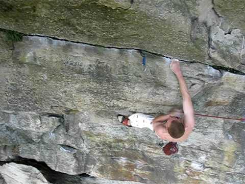 Boris climbing Infinite Space 5 12a, Gunks