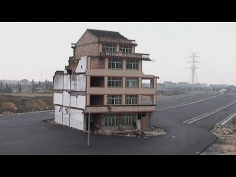 Motorway built around home in China