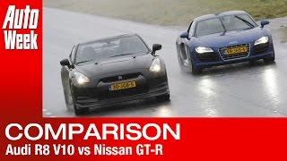 Audi R8 V10 vs Nissan GT-R (english subtitled)