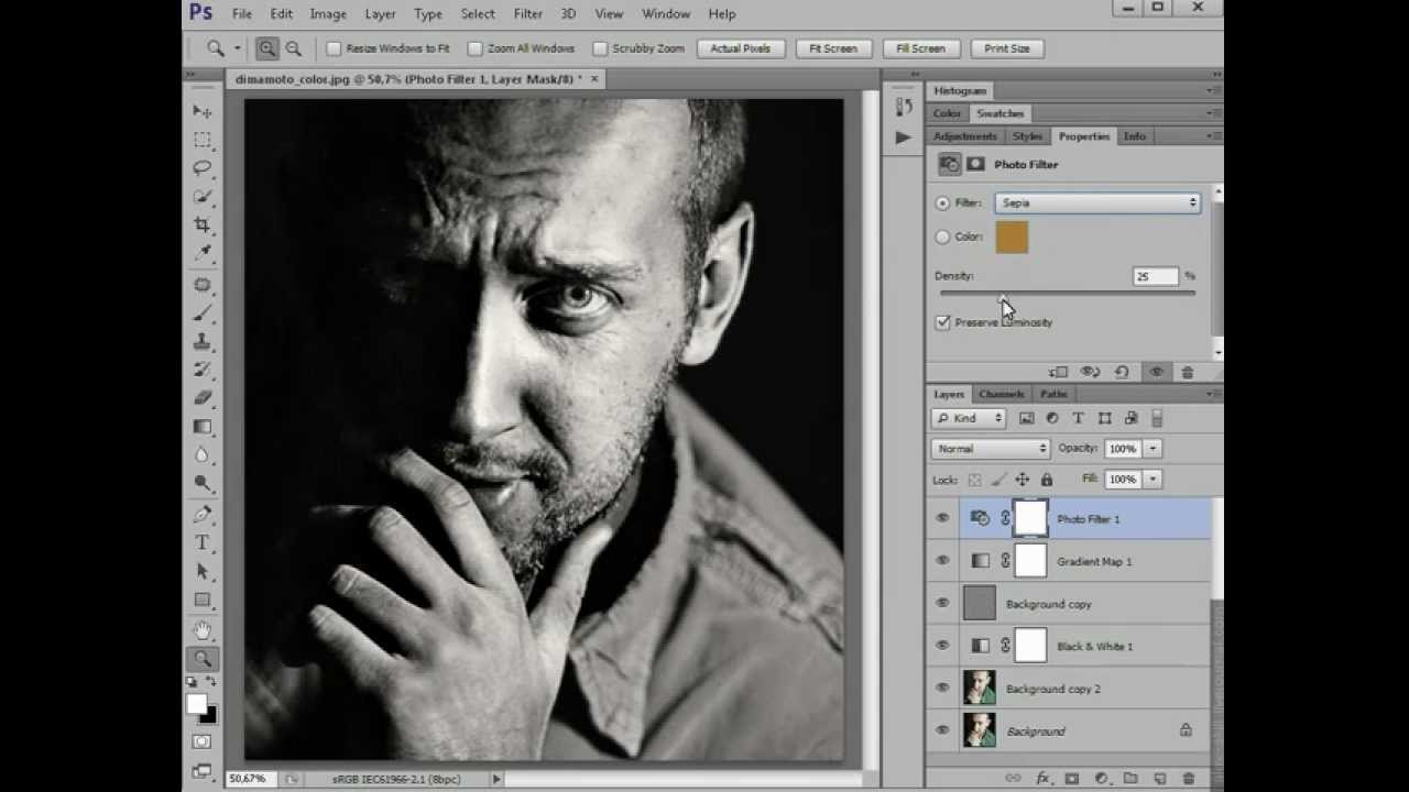 Как сделать портрет черно белой в фотошопе